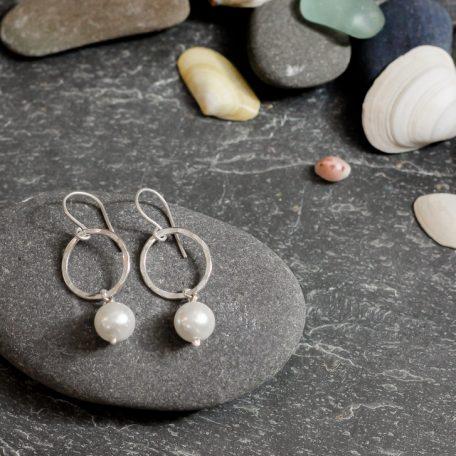 Pearl drop earrings made by chloe ichell jewellery in cornwall