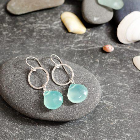 chalcedony and silver hoop earrings handmade in cornwall by chloe michell jewellery
