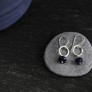 Iolite gems silver hoops earrings made by chloe michell jewellery