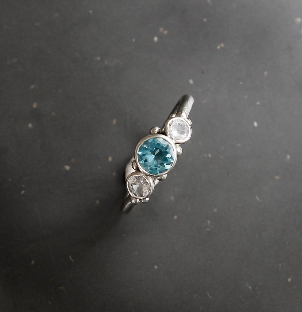 AAA Aquamarine ring, White sapphire. white gold ring, handmade by chloe michell jewellery in cornwall