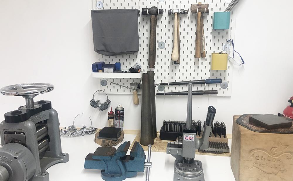 Forming tools in chloe michell jewellerys workshop