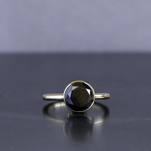 Black diamond ring set in gold handmade in Cornwall by chloe michell jewellery