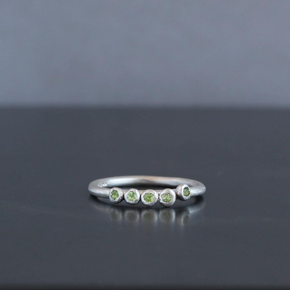 Silver peridot ring handmade in Cornwall by Chloe Michell