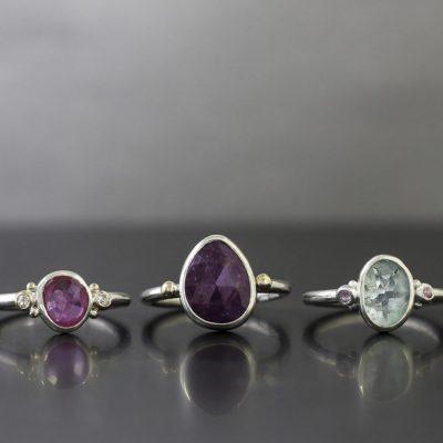 three rings handmade by chloe michell jewellery in cornwall