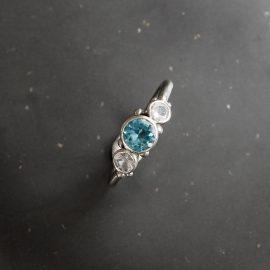 Aquamarine, white sapphire engagement ring in white gold. Handmade in Cornwall, by Chloe Michell Jewellery.